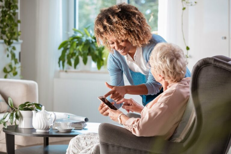 Carer providing home care at Seren Healthcare Solutions